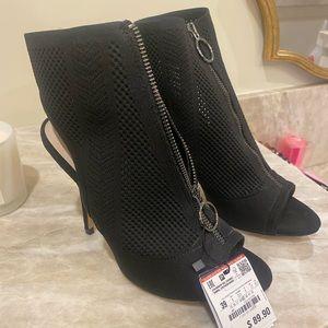Zara black slingback peep toe bootie heels